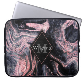 Stylish rose gold abstract marbleized design laptop sleeve
