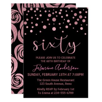 Stylish Rose Gold Faux Foil 60th Birthday Party Invitation
