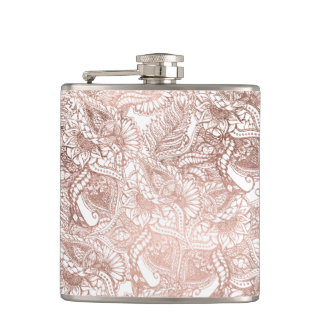 Stylish rose gold foil hand drawn floral pattern hip flask