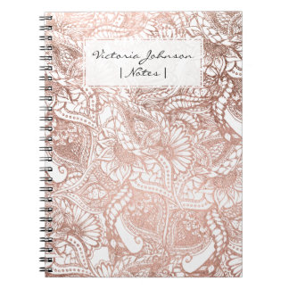 Stylish rose gold foil hand drawn floral pattern notebooks
