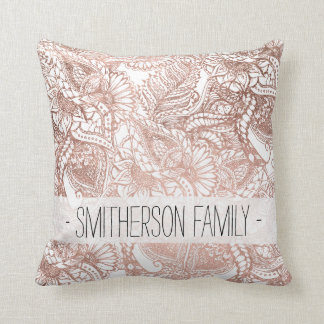 Stylish rose gold foil hand drawn floral pattern throw pillow