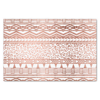 Stylish rose gold geometric aztec leopard pattern tissue paper