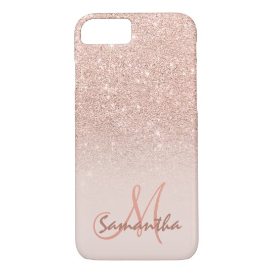 Stylish rose gold ombre pink block personalised iPhone