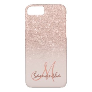 Stylish rose gold ombre pink block personalised iPhone 8 case