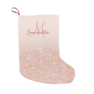 Stylish rose gold ombre pink block personalized small christmas stocking