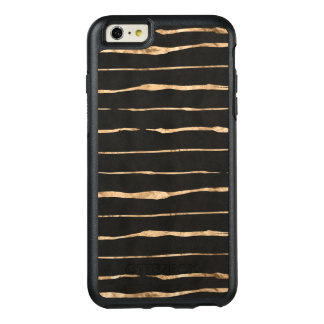 Stylish Rose-Gold On Black Modern Stripes OtterBox iPhone 6/6s Plus Case