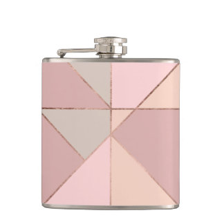 Stylish rose gold peach tan blush color block flasks