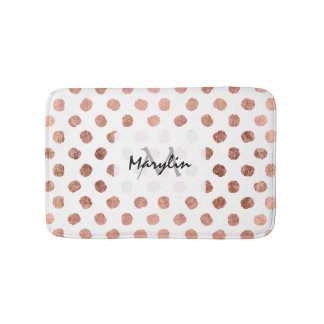 Stylish rose gold polka dots brushstrokes pattern bath mat