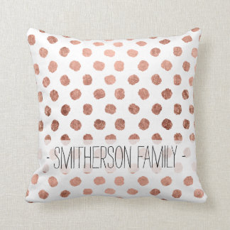 Stylish rose gold polka dots brushstrokes pattern cushion