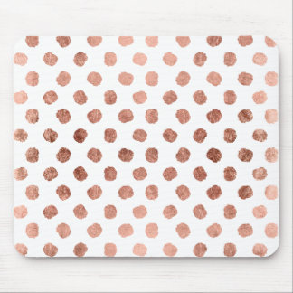 Stylish rose gold polka dots brushstrokes pattern mouse mat