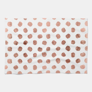 Stylish rose gold polka dots brushstrokes pattern tea towel