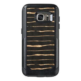 Stylish Rose-Gold Stripes Pattern On Black OtterBox Samsung Galaxy S7 Case