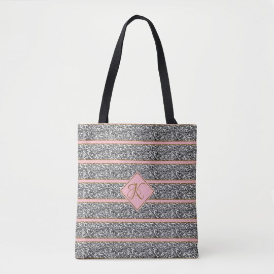 Stylish Rose Silver Glitter Straps Monogrammed Tote Bag