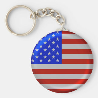 Stylish Round USA Flag Basic Round Button Key Ring
