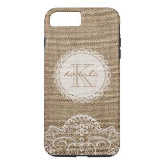 Stylish Rustic Burlap Ivory Lace Pattern Monogram iPhone 8 Plus/7 Plus Case