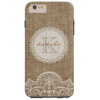 Stylish Rustic Burlap Ivory Lace Pattern Monogram Tough iPhone 6 Plus Case