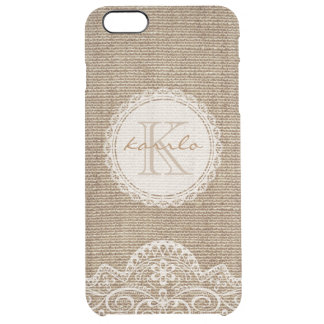 Stylish Rustic Country Burlap Ivory Lace Monogram Clear iPhone 6 Plus Case