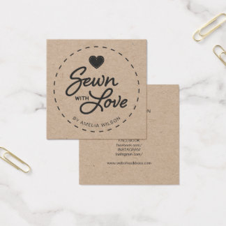 Stylish Rustic Sewn with Love Social Media Kraft Square Business Card