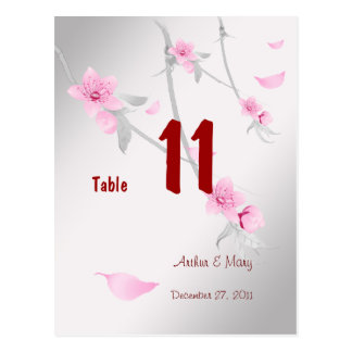 Stylish Sakura Table Number Card