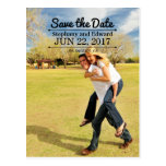 Stylish Save the Date Photo Postcard Top Text