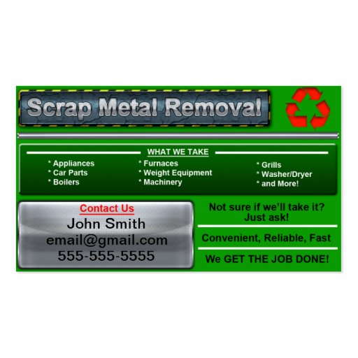 Collections of metal recycling business cards stylish scrap metal removal business card reheart Gallery