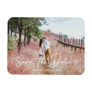 Stylish Script Country Rustic Save The Date Magnet