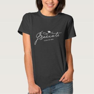 Stylish Script Graduate Mortar Board Graduation T-shirt