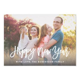 Stylish Script Happy New Year Photo Card 13 Cm X 18 Cm Invitation Card