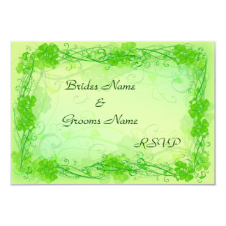 "Stylish Shamrock RSVP cards 3.5"" X 5"" Invitation Card"