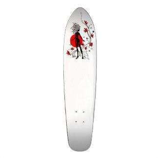 Stylish silhouette of elegant woman with sweet cat 18.1 cm old school skateboard deck