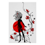 Stylish silhouette of elegant woman with sweet cat poster