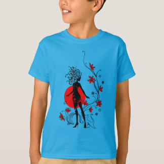 Stylish silhouette of elegant woman with sweet cat T-Shirt