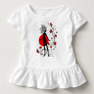 Stylish silhouette of elegant woman with sweet cat toddler T-Shirt