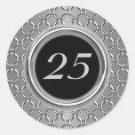 Stylish Silver & Black 25th Wedding Anniversary