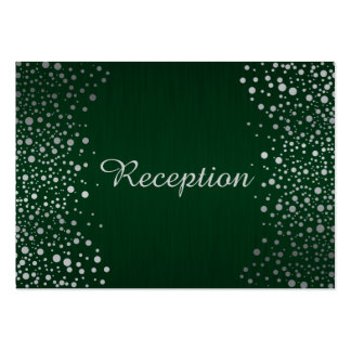 Stylish Silver Confetti Dots | Dark Green Pack Of Chubby Business Cards