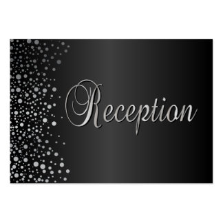 Stylish Silver Confetti Dots | Sheen Black Pack Of Chubby Business Cards