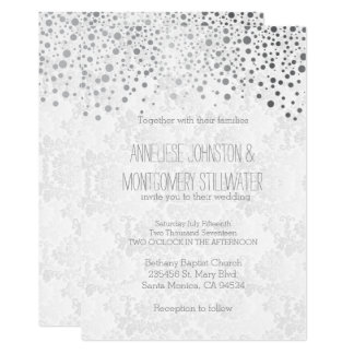 Stylish Silver Confetti Dots | White Invitation
