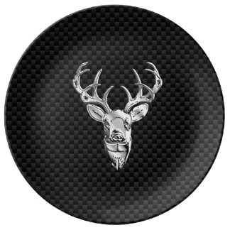 Stylish Silver Deer on Carbon Fiber Porcelain Plate