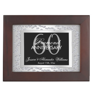 Stylish Silver Diamonds 60th Wedding Anniversary Keepsake Box