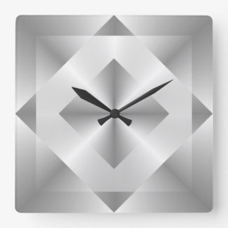 Stylish Silver Geometric Pattern Clock