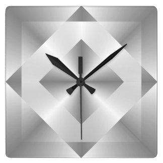 Stylish Silver Geometric Pattern Square Wall Clock