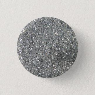 Stylish Silver Glitter Glitz Photo 3 Cm Round Badge