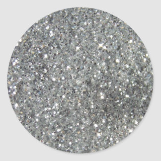 Stylish Silver Glitter Glitz Photo Classic Round Sticker