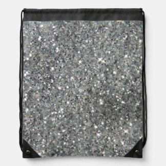 Stylish Silver Glitter Glitz Photo Drawstring Bag