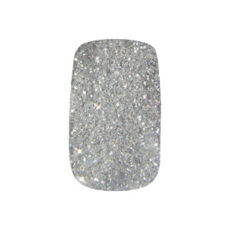 Stylish Silver Glitter Glitz Photo Minx Nail Art