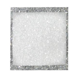 Stylish Silver Glitter Glitz Photo Notepad