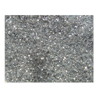 Stylish Silver Glitter Glitz Photo Postcard
