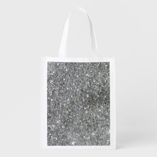 Stylish Silver Glitter Glitz Photo Reusable Grocery Bag