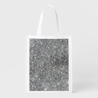Stylish Silver Glitter Glitz Photo Reusable Grocery Bag