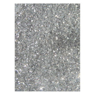 Stylish Silver Glitter Glitz Photo Tablecloth